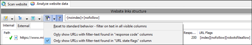 filter results on URL state flags information