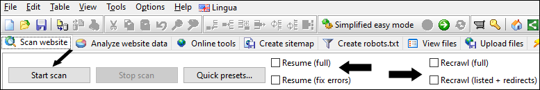 website scraper resume scan of unstable or large websites