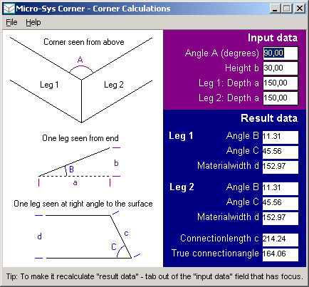 Corner version 1.x on Windows - shows main window where corner angels are entered and calculated.