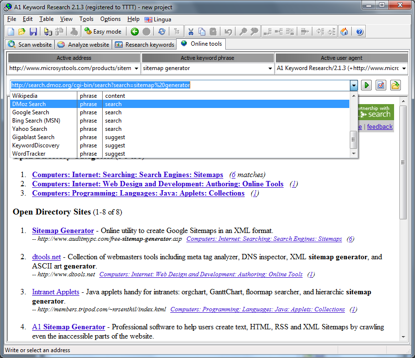 A1 Keyword Research 2.1.3 in Windows 7 - keyword research online tools