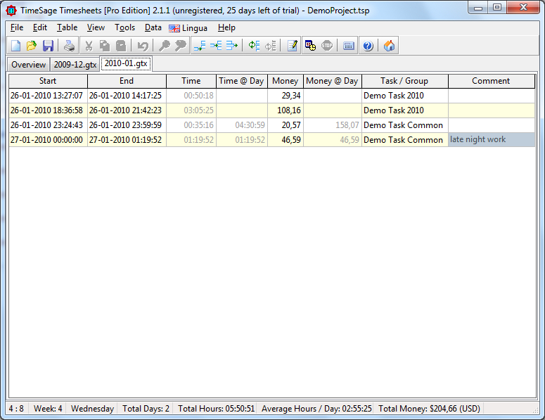 TimeSage is a tool for general time recording e.g. tracking hours worked. Screen Shot