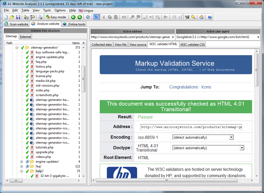 A1 Website Analyzer 2.1.1 in Windows 7 - analyzer data w3c html validate