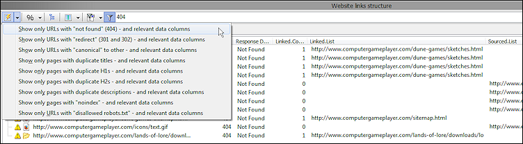 website data export xml csv