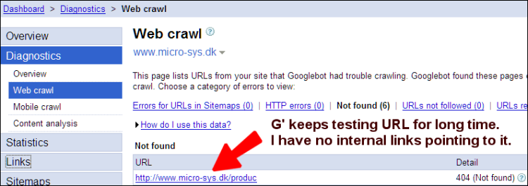 google tools diagnostics webcrawl