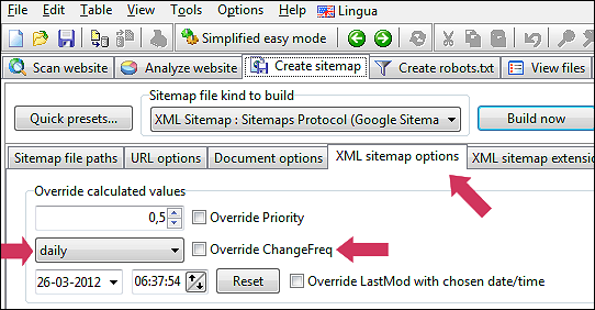 calculated change frequency values in xml sitemaps generator