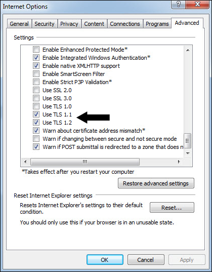 Windows internet options for SSL and TLS
