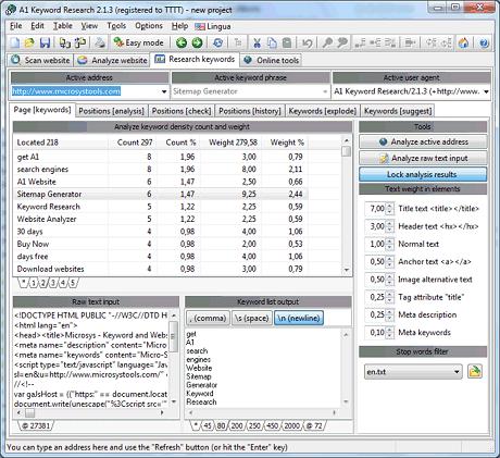 keyword research website ranking and keyword analyzer