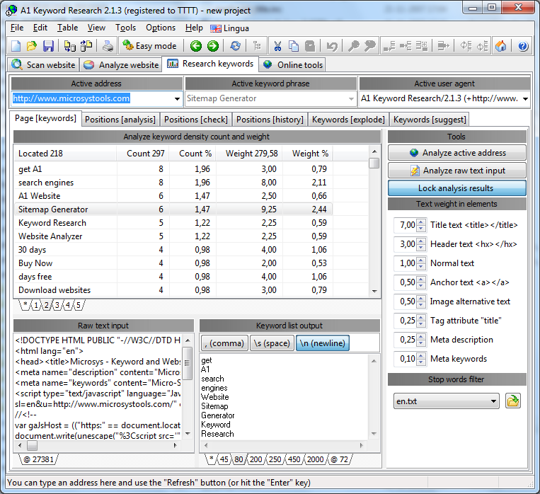 A1 Keyword Research 2.1.3 in Windows 7 - keyword research density analysis