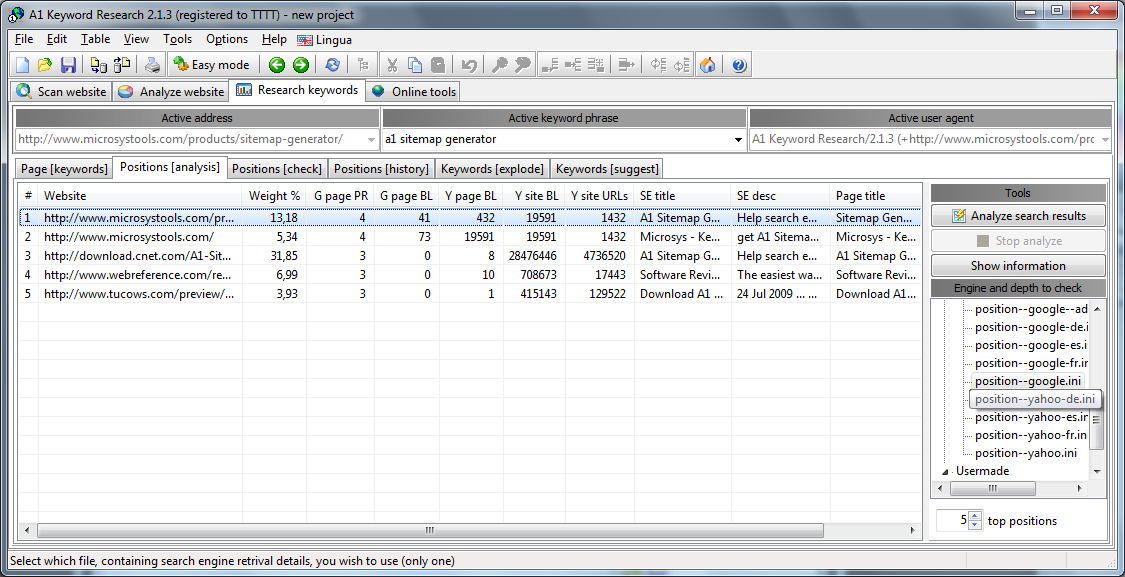 A1 Keyword Research 2.1.3 in Windows 7 - keyword research position analysis