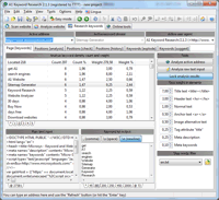 Screenshot: A1 Keyword Research 2.1.3 in Windows 7 - keyword research density analysis