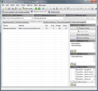 Screenshot: A1 Keyword Research 2.1.3 in Windows 7 - keyword research position check