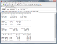 Screenshot: TimeSage Timesheets version 2.1.1 in Windows 7 - timesheets billing totals
