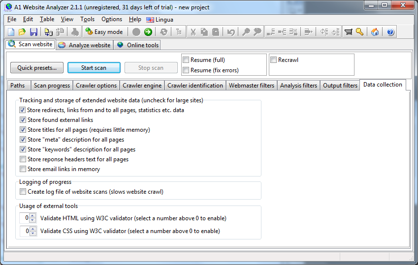 A1 Website Analyzer 2.1.1 in Windows 7 - analyzer scanner advanced options