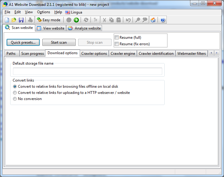 A1 Website Download 2.1.1 in Windows 7 - download scanner advanced options