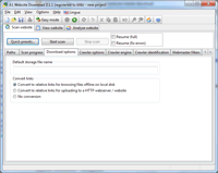 Screenshot: A1 Website Download 2.1.1 in Windows 7 - download scanner advanced options